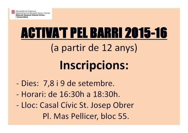 ACTIVA't cartell inscripcions 2015-16